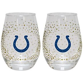 Indianapolis Colts Glitter Stemless Wine Glass Set