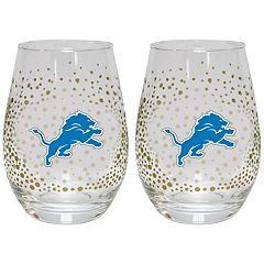 Detroit Lions Glitter Stemless Wine Glass Set