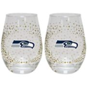 Seattle Seahawks Glitter Stemless Wine Glass Set