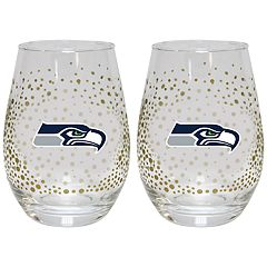 Seattle Seahawks Glitter Stemless Wine Glass Set