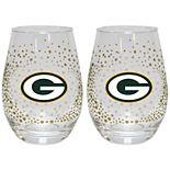Green Bay Packers Glitter Stemless Wine Glass Set