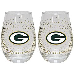 Green Bay Packers Glitter Stemless Wine Glass Set