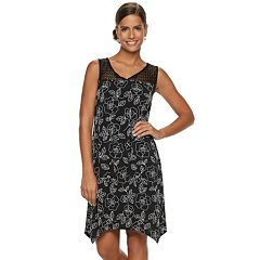Women's Nina Leonard Floral Sharkbite Hem Dress