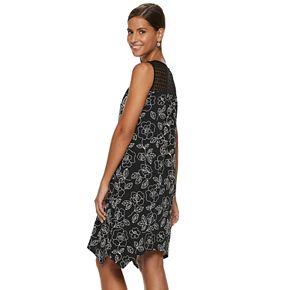 Women's Nina Leonard Floral Sharkbite Hem Dress