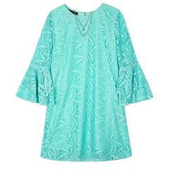 Girls 7-16 IZ Amy Byer Lace Bell Sleeve A-Line Dress & Necklace Set