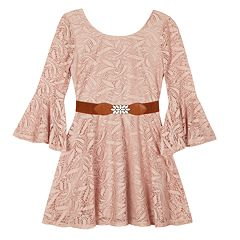 Girls 7-16 IZ Amy Byer Belted Lace Bell Sleeve Dress