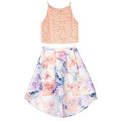 Girls 7-16 IZ Amy Byer Floral Skirt & Sleeveless Crop Top Set
