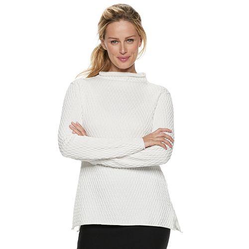 Women's ELLE™ Pucker-Stitch Funnelneck Sweater