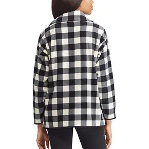Petite Chaps Plaid 1/2-Snap Fleece Jacket