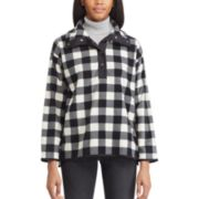 Petite Chaps Plaid 1/2-Snap Fleece Jacket