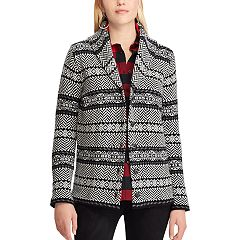 Petite Chaps Print Shawl-Collar Cardigan Sweater