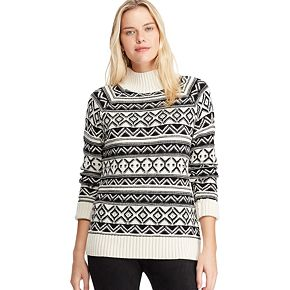 Petite Chaps Mockneck Ribbed Sweater