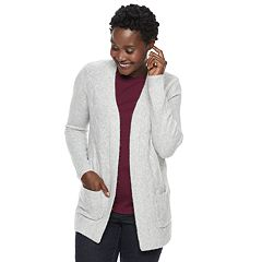 Women's Croft & Barrow® Airy Fuzzy Open-Front Cardigan