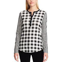 Petite Chaps Print Henley Shirt