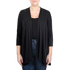 Women's Nina Leonard Draped Open-Front Cardigan