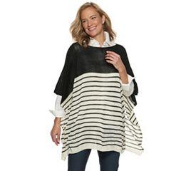 Women's Chaps Knit Striped Poncho