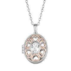 Brilliance Two-Tone Oval Heart Locket with Swarovski Crystals