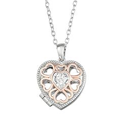 Brilliance Two-Tone Heart Locket with Swarovski Crystal
