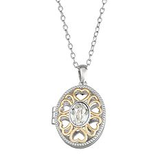 Brilliance Two-Tone Oval Locket with Swarovski Crystal