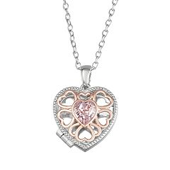 Brilliance Two-Tone Heart Locket with Swarovski Crystals