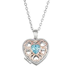 Brilliance Two-Tone Blue Heart Locket with Swarovski Crystal