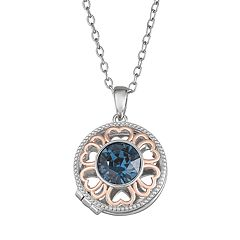 Brilliance Two-Tone Round Heart Locket with Swarovski Crystal