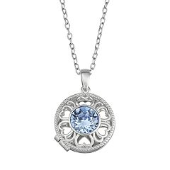 Brilliance Sterling Silver Over Bronze Round Locket with Swarovski Crystal