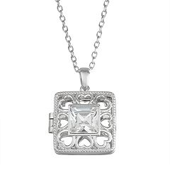 Brilliance Sterling Silver Over Bronze Square Locket with Swarovski Crystals