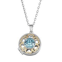 Brilliance Two-Tone Round Locket with Swarovski Crystal
