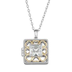Brilliance Two-Tone Square Locket with Swarovski Crystal
