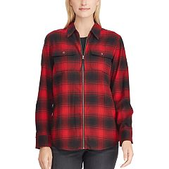 Petite Chaps Plaid Zip-Front Shirt