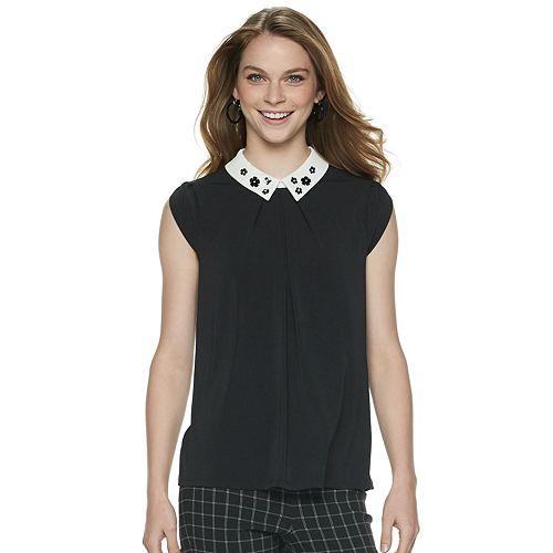 Women's ELLE™ Embellished Collar Top