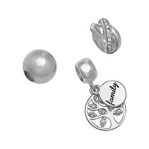 Individuality Beads Sterling Silver Crystal Family Tree Charm & Bead Set