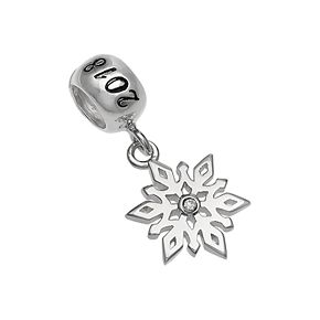 """Individuality Beads Sterling Silver Crystal Snowflake """"2018"""" Charm"""