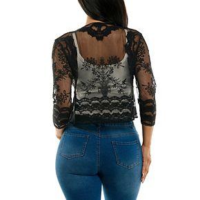 Women's Nina Leonard Embroidered Sheer Bolero Jacket