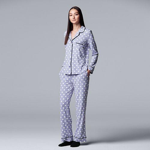 Women's Simply Vera Vera Wang Notch Collar Shirt, Pants & Socks Pajama Set