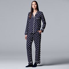 Women's Simply Vera Vera Wang Notch Collar Shirt, Pants & Socks Pajama Set