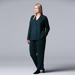 Plus Size Simply Vera Vera Wang Notch Collar Shirt, Pants & Socks Pajama Set