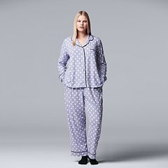 Plus Size Simply Vera Vera Wang Notch Collar Shirt, Pants & Socks Pajama Set