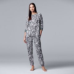 Women's Simply Vera Vera Wang Printed Top & Joggers Pajama Set