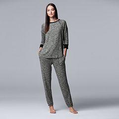 Women's Simply Vera Vera Wang Printed Top & Joggers Pajama Set