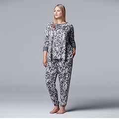 Plus Size Simply Vera Vera Wang Printed Top & Joggers Pajama Set