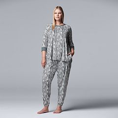 Plus Size Simply Vera Vera Wang Printed Top & Banded Bottom Sleep Pants Pajama Set
