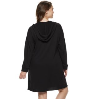 Juniors' Plus Size SO® Lace-Up Hooded Popover Dress
