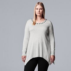 Plus Size Simply Vera Vera Wang Embellished Handkerchief-Hem Sweater