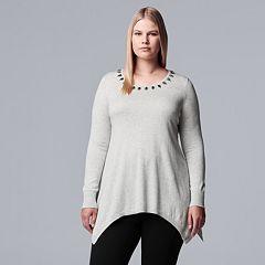 Plus Size Simply Vera Vera Wang Embellished Handkerchief-Hem Sweater