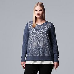 Plus Size Simply Vera Vera Wang Lace Mock-Layer Sweater