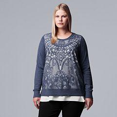 Plus Size Simply Vera Vera Wang Lace Mock-Layer Sweater