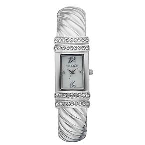 Studio Time Women's Crystal Accent Textured Swirl Cuff Watch