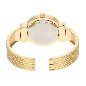 Studio Time Women's Crystal Accent Ribbed Cuff Watch